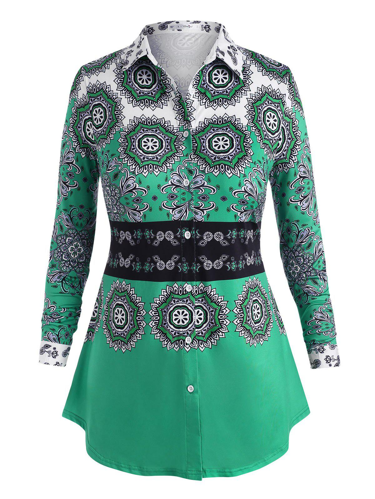 Affordable Plus Size Button Up Tribal Print Shirt