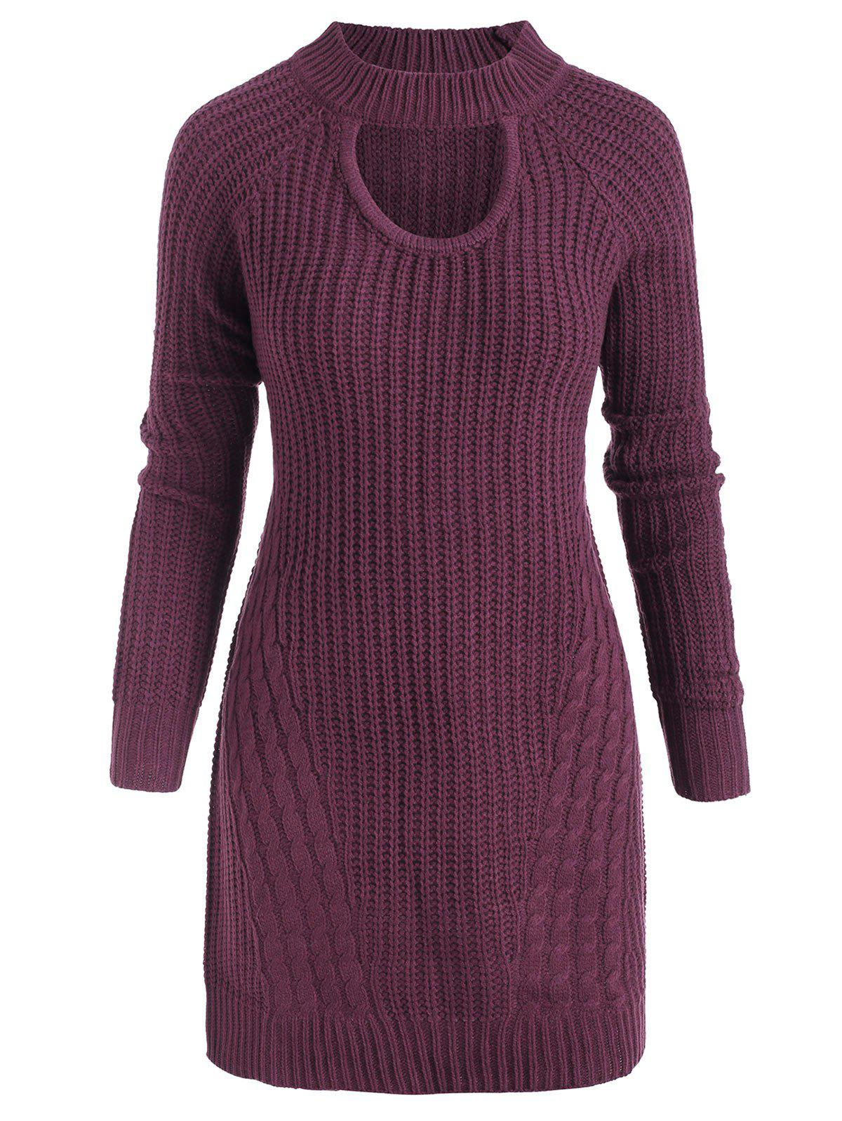 Shops Plus Size Mock Neck Cable Knit Sweater with Keyhole