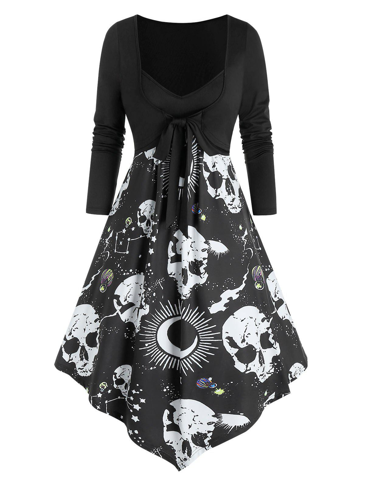 Best Skull Starry Print 2 in 1 Bowknot Asymmetrical Dress