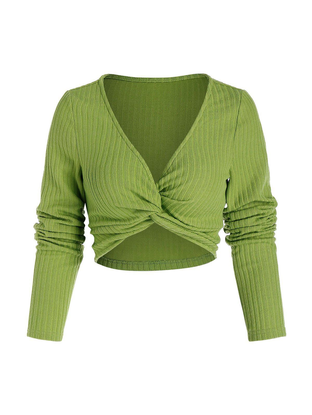 Chic Front Twist Ribbed Crop Sweater