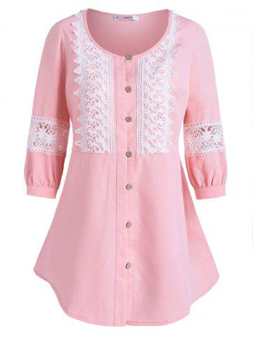 Plus Size Lace Insert Button Up Top - LIGHT PINK - 2X