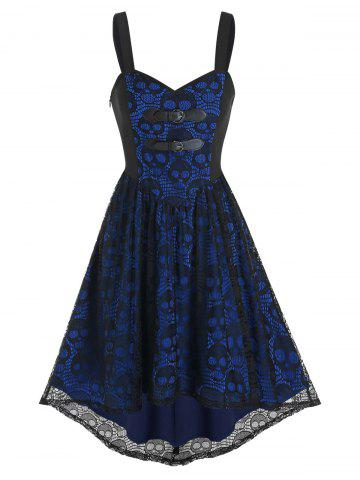 Dual Buckled High Low Skull Lace Dress