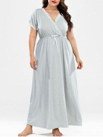 Plus Size Lace Panel Surplice Nightgown - LIGHT GRAY - 2XL