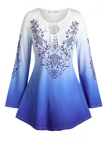 Plus Size Ombre Print Keyhole Tie Bell Sleeve Tee - BLUE - 2X