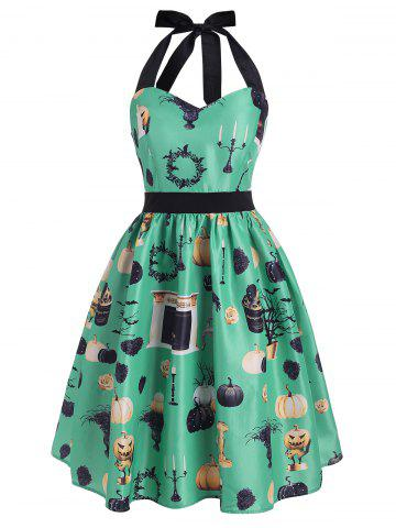 Halloween Pumpkin Cat Tree Bat Print Halter Dress