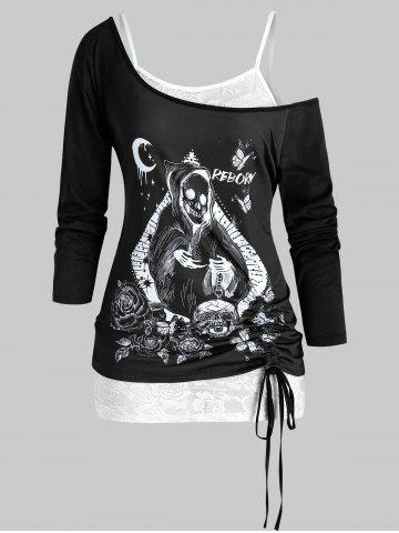 Plus Size Halloween Skull Cinched T-shirt and Lace Cami Top Set