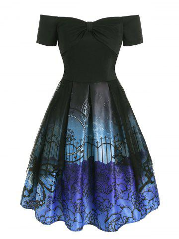 Flower Butterfly Print Bowknot Lace Panel Dress - BLACK - XL