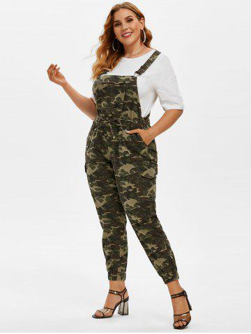 Plus Size Camo Print Overall Jumpsuit