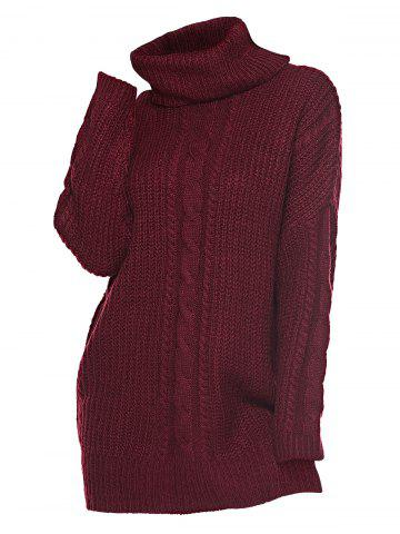 Plus Size Cable Knit Turtleneck Sweater Dress - DEEP RED - ONE SIZE