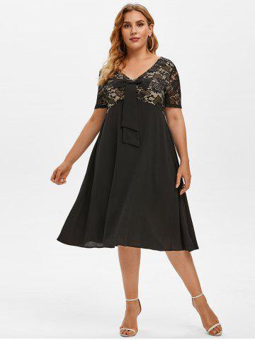 Plus Size Lace Insert Bowknot Flare Dress