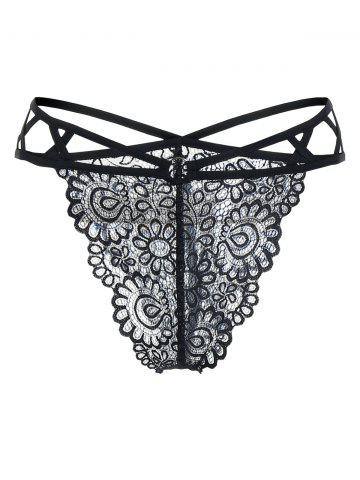 Plus Size Crisscross Sheer Lace Panties - BLACK - L