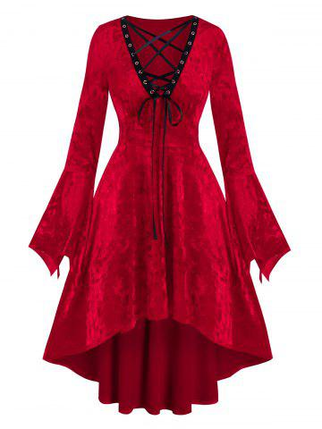 Christmas Velour Lace Up High Low Dress