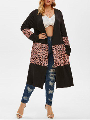 Leopard Colorblock Pockets Plus Size Cardigan - BLACK - L