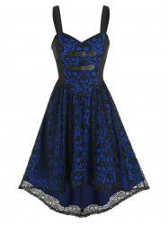Dual Buckled High Low Skull Lace Dress -