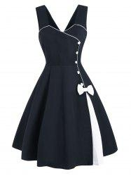 Bowknot Button Embellished Contrast Binding Dress -
