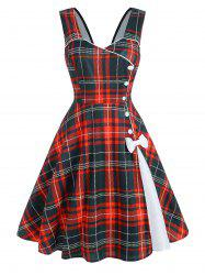 Plaid Button Embellished Bowknot Sleeveless Dress -
