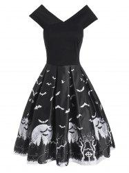 Halloween Tree Moon Bat Cat Print V Neck Dress -