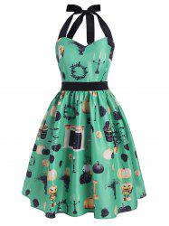 Halloween Pumpkin Cat Tree Bat Print Halter Dress -