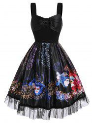 Bowknot Floral Face Fireworks Print Lace Panel Dress -