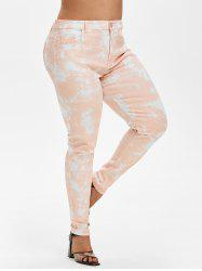 Plus Size Acid Wash Pocket High Waisted Jeans -