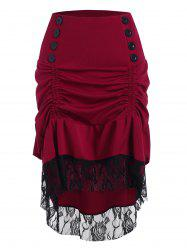 Ruched Dip Hem Lace Insert Buttoned Skirt -