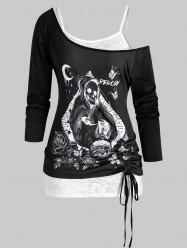 Plus Size Halloween Skull Cinched T-shirt and Lace Cami Top Set -