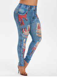 Plus Size Bloody Ripped 3D Jean Print High Waisted Jeggings -