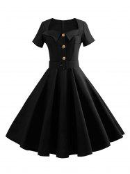 Vintage Sweetheart Neck Buttoned Belted 1950s Dress -