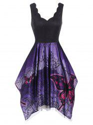 Lace Overlay Scalloped Butterfly Flower Print Handkerchief Dress -
