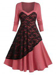Bicolor Layered Lace Mid Calf Dress -