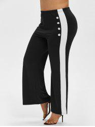 Plus Size Two Tone Sailor Button Wide Leg Pants -