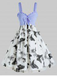Plus Size Bowknot Butterfly Embroidery Layers Dress -