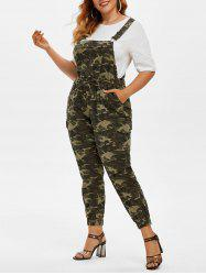 Plus Size Camo Print Overall Jumpsuit -