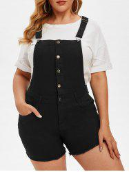 Half Buttoned Frayed Hem Plus Size Short Denim Overalls -