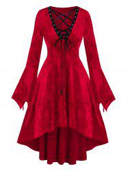 Christmas Velour Lace Up High Low Dress -