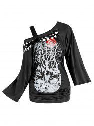 Two Piece Tree Pattern Cutout Braided Flare Sleeve T Shirt Sets -