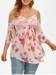 Plus Size Cold Shoulder Lace Inset Floral Blouse and Tank Top Set -