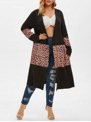 Leopard Colorblock Pockets Plus Size Cardigan -