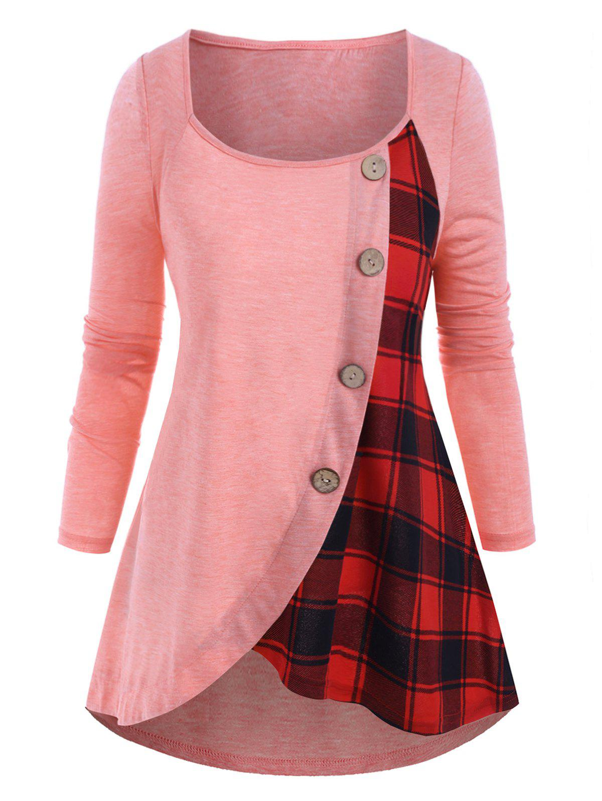 Outfits Plus Size High Low Plaid T Shirt