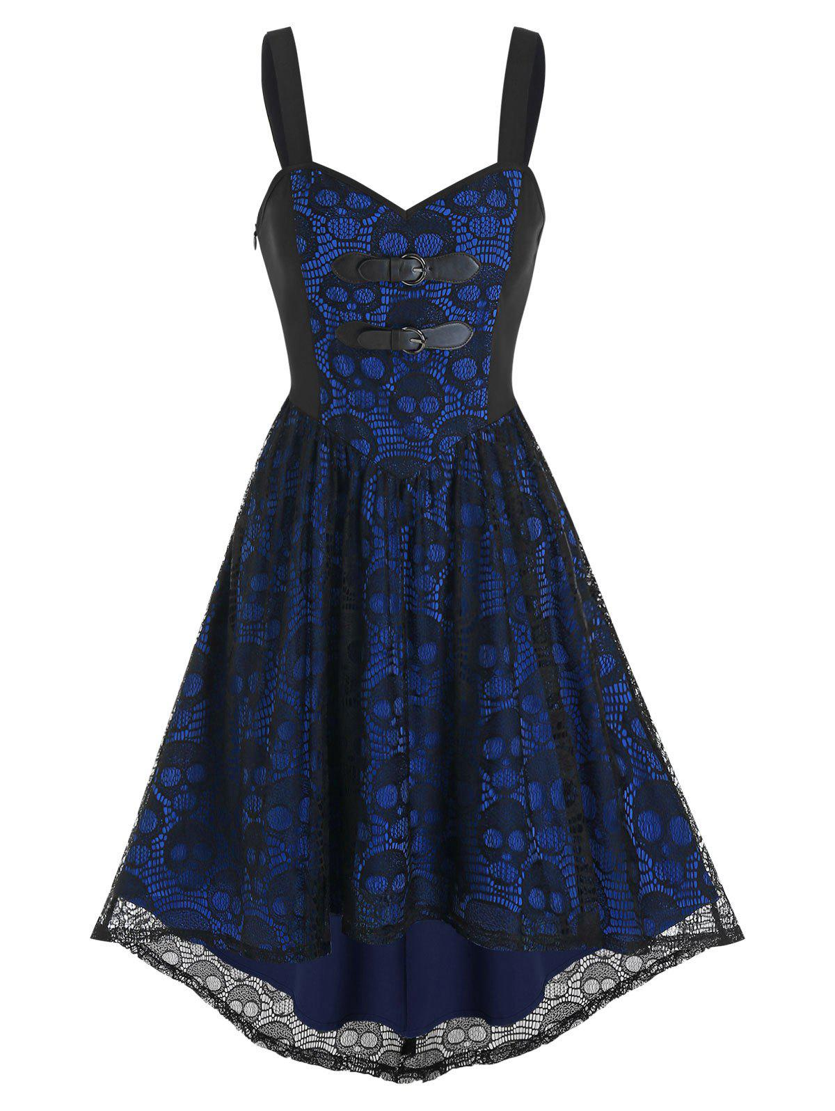 Online Dual Buckled High Low Skull Lace Dress