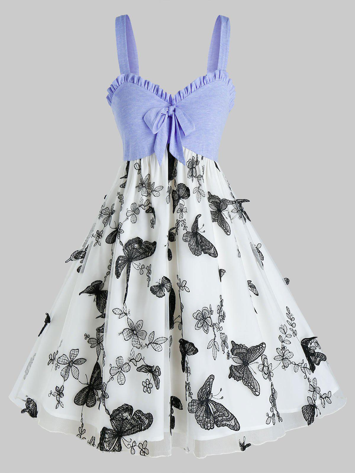 Shops Plus Size Bowknot Butterfly Embroidery Layers Dress