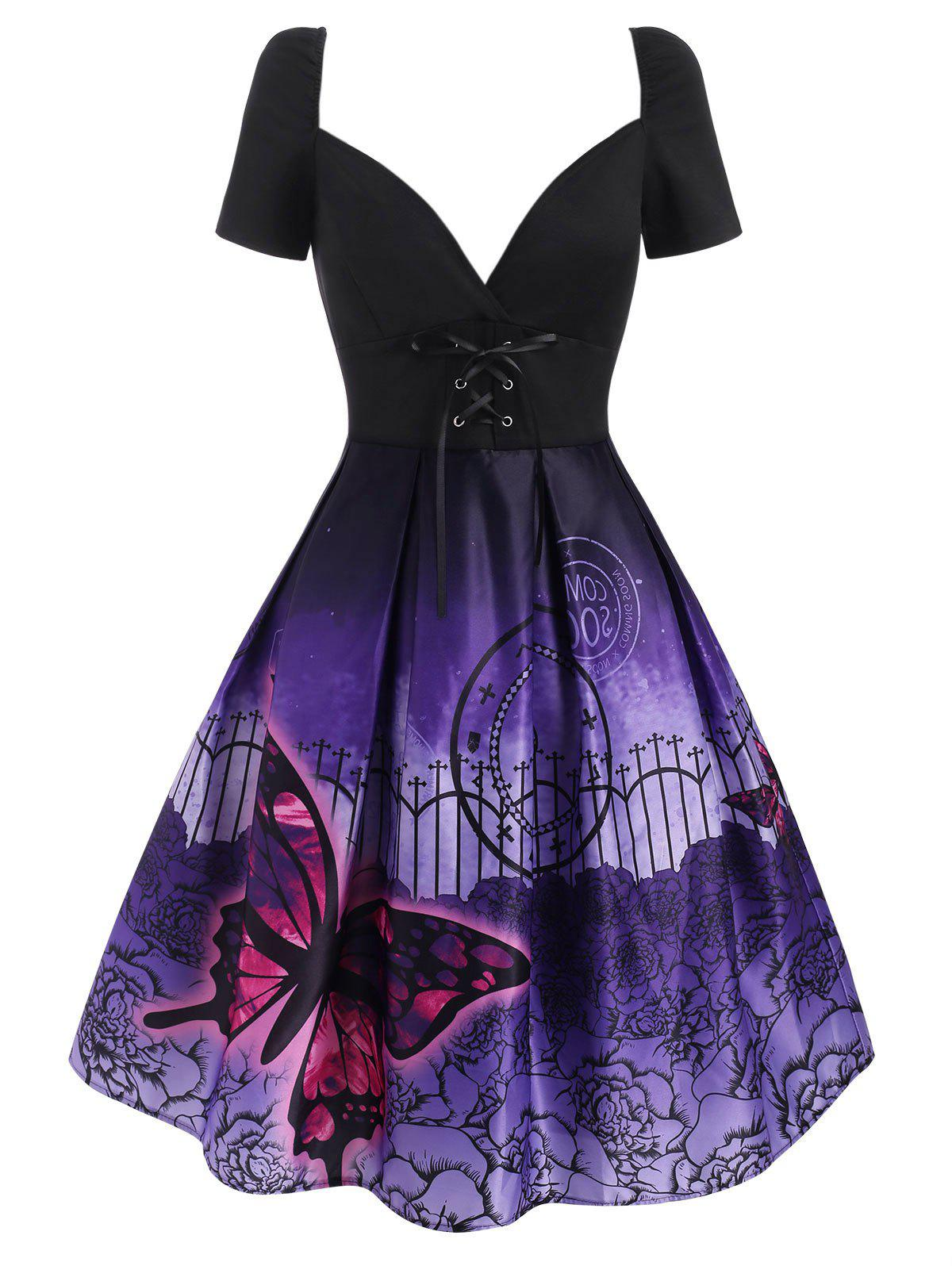 Fashion Lace Up Butterfly Flower Print Empire Waist Dress
