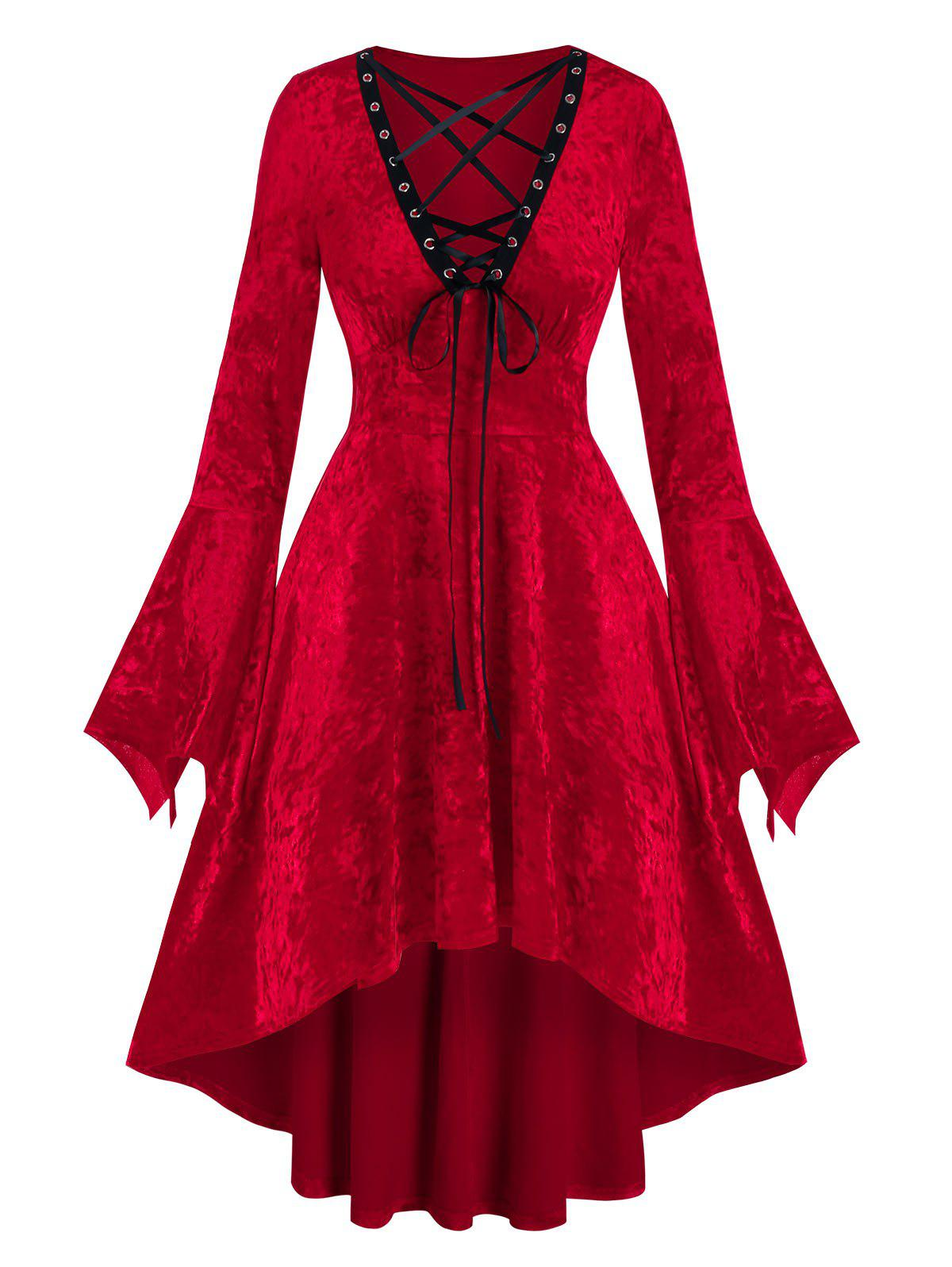 Discount Halloween Velour Lace Up High Low Dress