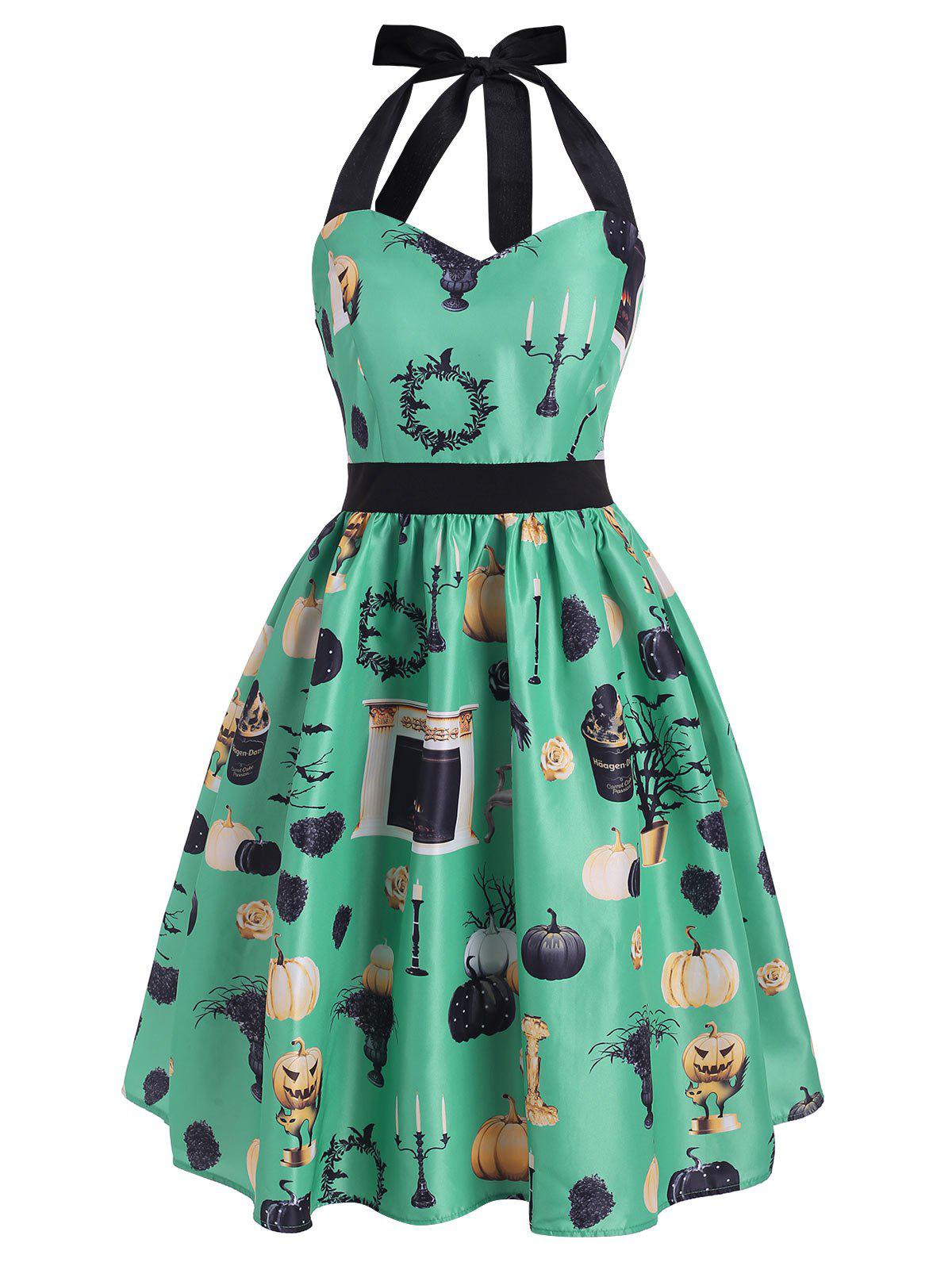 Chic Halloween Pumpkin Cat Tree Bat Print Halter Dress