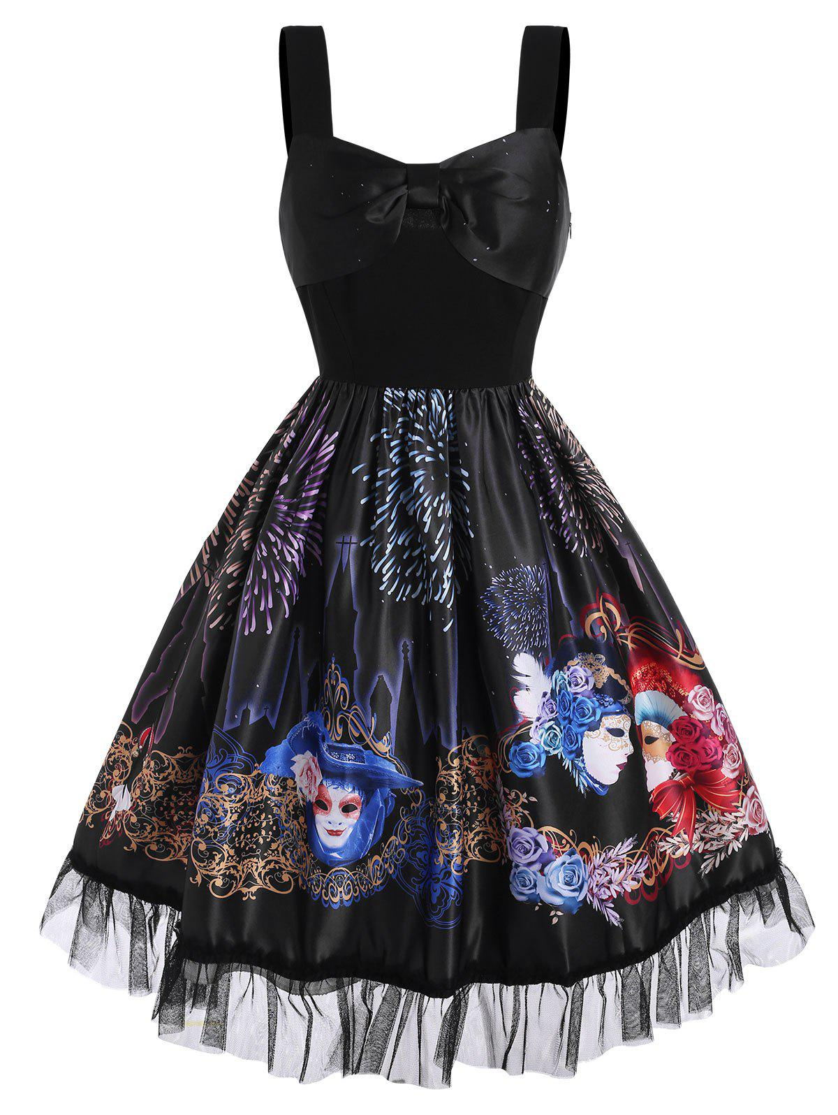 Best Bowknot Floral Face Fireworks Print Lace Panel Dress