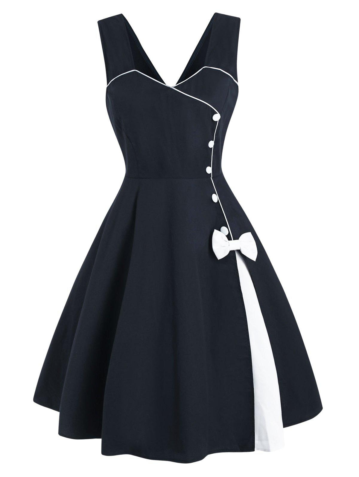 Discount Bowknot Button Embellished Contrast Binding Dress