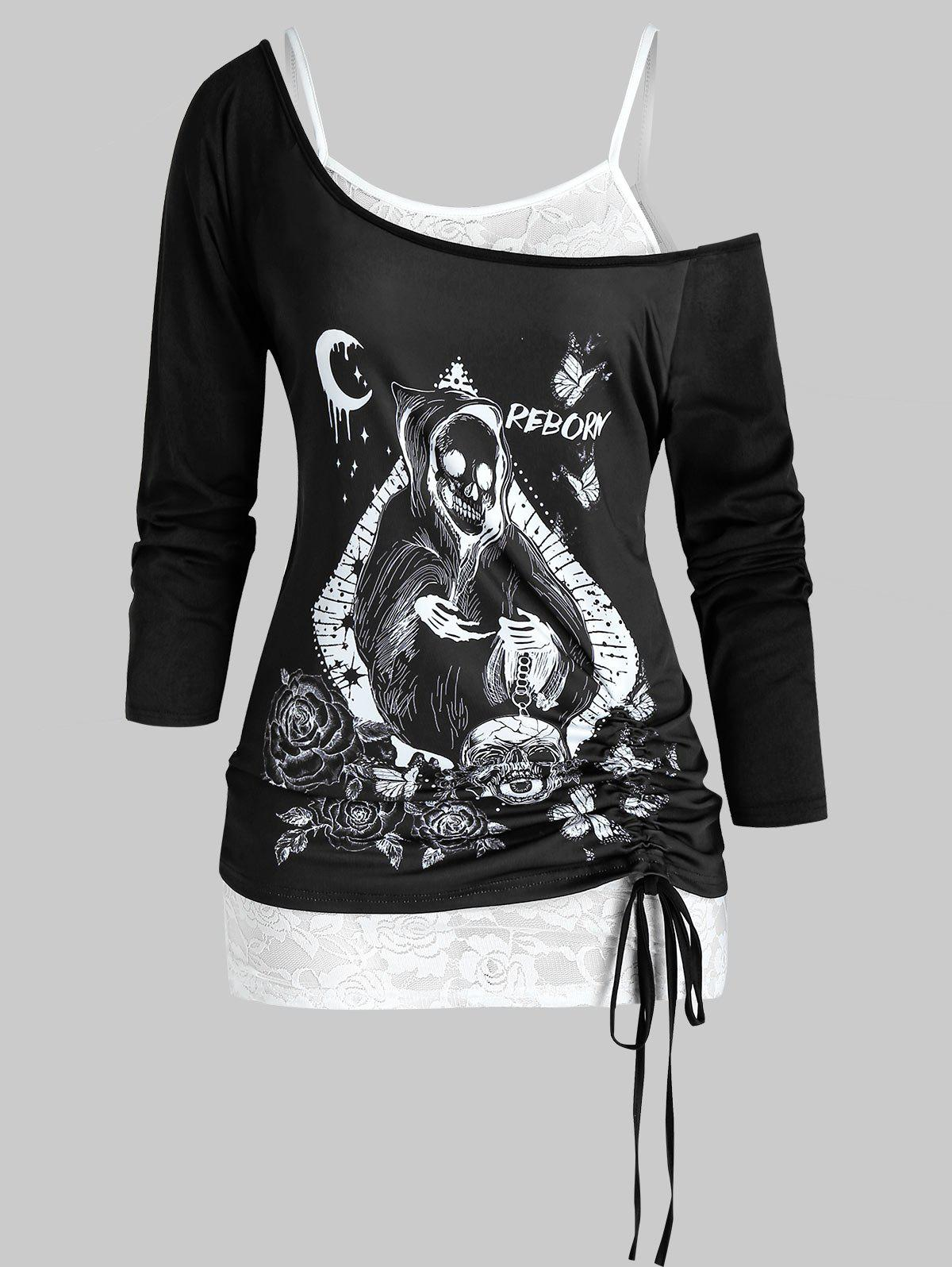 Latest Plus Size Halloween Skull Cinched T-shirt and Lace Cami Top Set