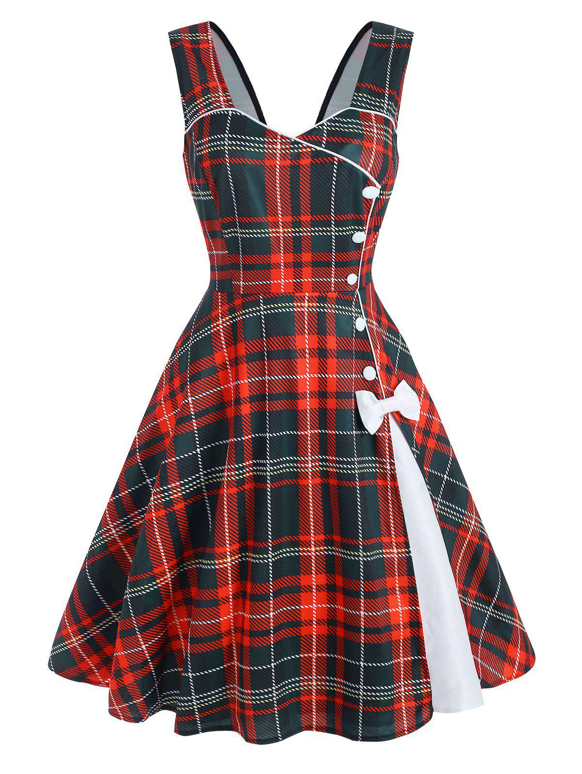 Hot Plaid Button Embellished Bowknot Sleeveless Dress