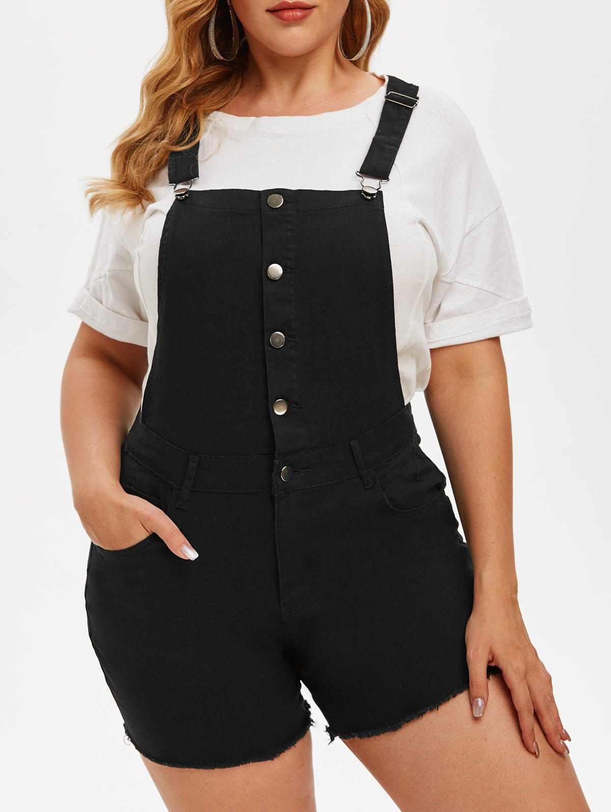New Half Buttoned Frayed Hem Plus Size Short Denim Overalls
