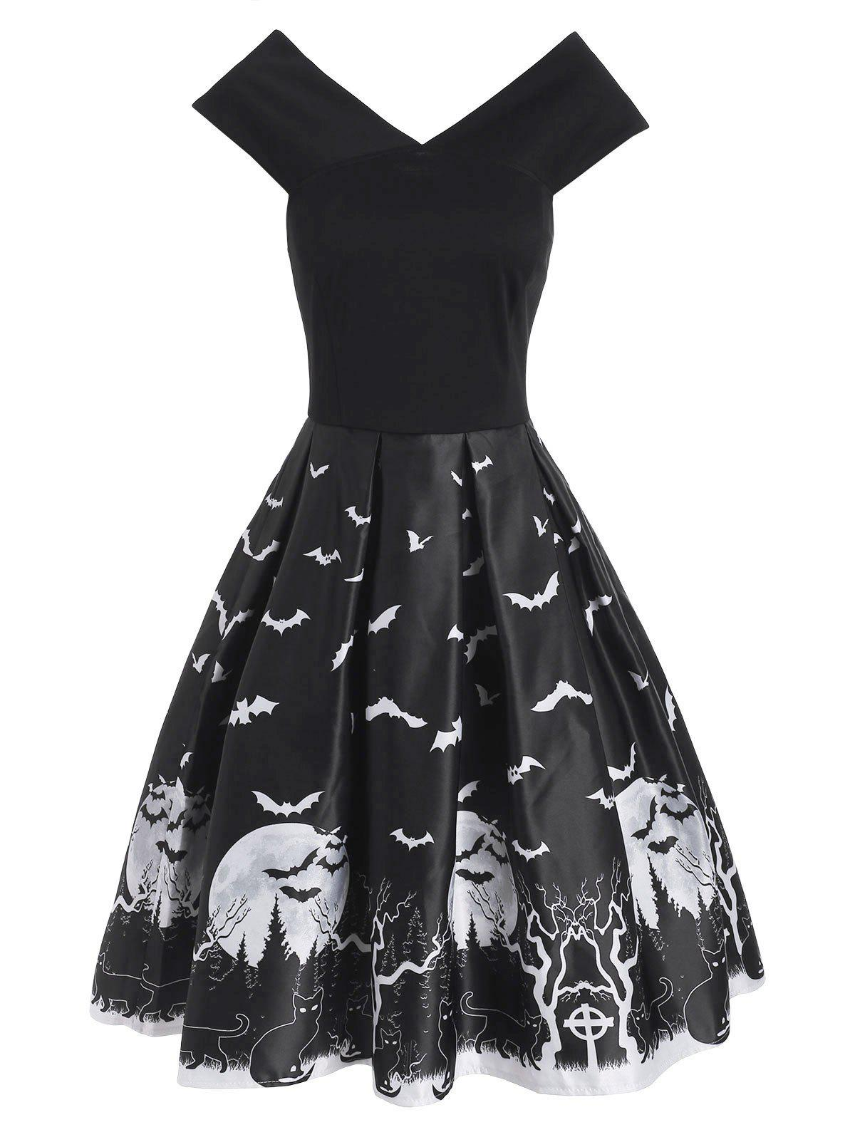 Shops Halloween Tree Moon Bat Cat Print V Neck Dress